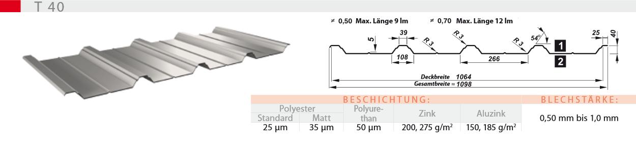 Trapezblech im hohen Profil 40mm inkl. Tiefsickenprofilierung