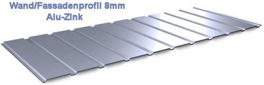 Trapezblech Wand Fassadenverkleidung 8mm AluZink -0.5mm stark