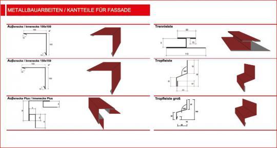 Kantteile für Wand-/Fassadenblech-Beispiele