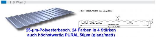 Trapezblech Wand Fassadenverkleidung poly 8mm-0.5mm