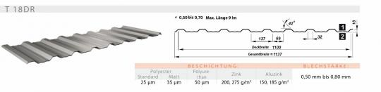 Trapezblech VLIES 20 Farben Profil 18mmDR/0.5