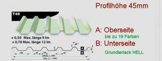 Trapezblech VLIES 23 Farben Profil 45/0.5