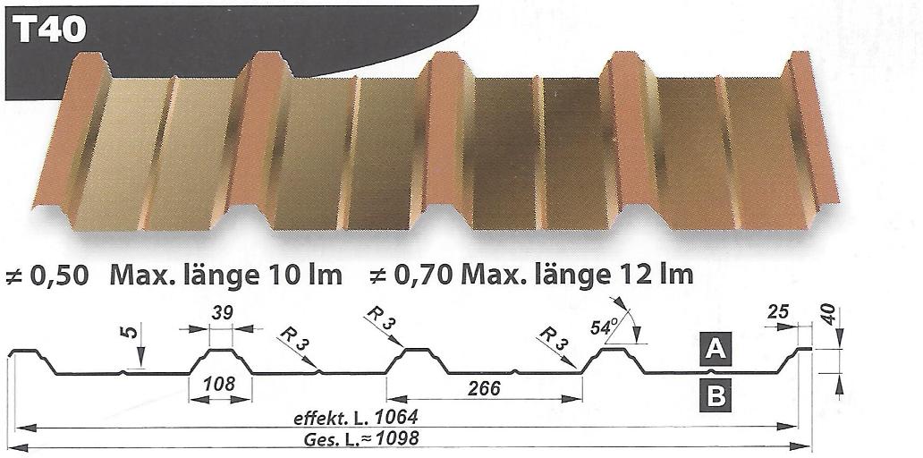 trapezbleche verz pol besch starke profilh he 40mm 1. Black Bedroom Furniture Sets. Home Design Ideas