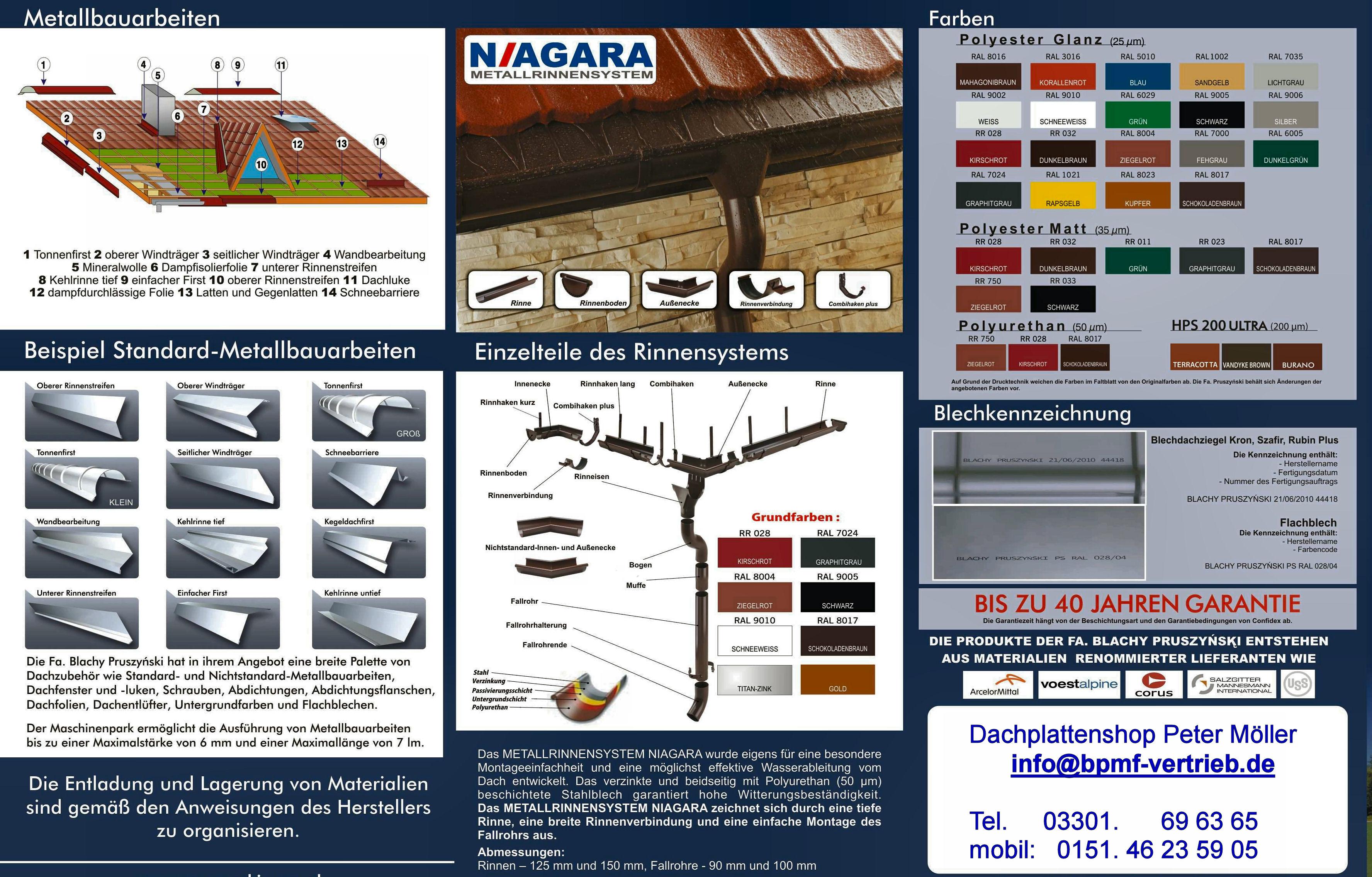 Dachrinnensystem - passend zu Stahlblechplatten