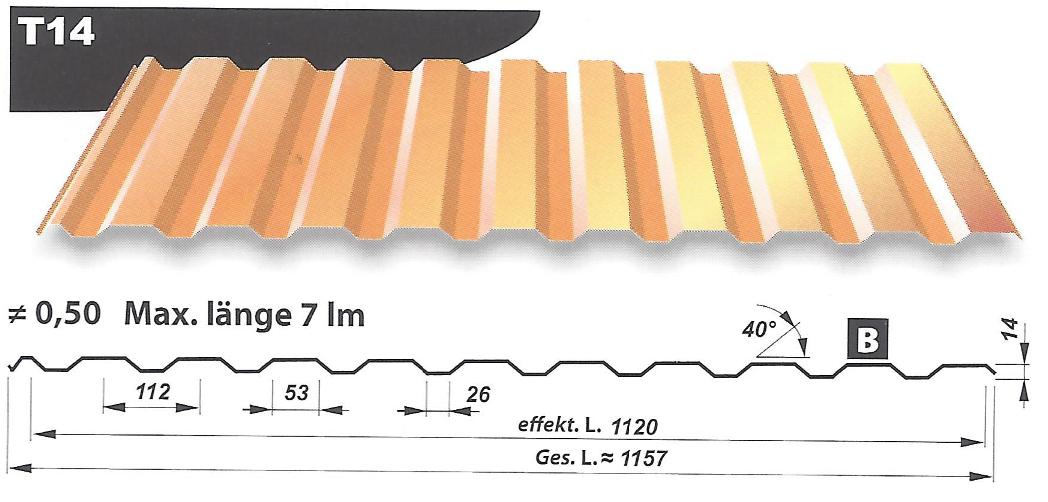 wandverkleidung stahlblech holzdekor profilh he 14mm hpm shop. Black Bedroom Furniture Sets. Home Design Ideas